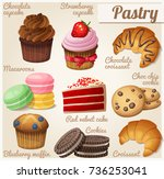 set of food icons. pastry.... | Shutterstock . vector #736253041
