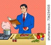 businessman cooking food pop... | Shutterstock .eps vector #736254535