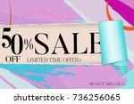 sale advertisement banner on... | Shutterstock .eps vector #736256065