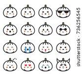 pumpkin flat line emojis set... | Shutterstock .eps vector #736256545