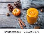 pumpkin smoothie  latte with... | Shutterstock . vector #736258171