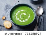 broccoli cream soup in a bowl... | Shutterstock . vector #736258927
