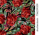 3d red roses seamless pattern.... | Shutterstock .eps vector #736259359