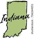 hand drawn indiana state design | Shutterstock .eps vector #736264051