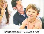 happy family having fun... | Shutterstock . vector #736265725