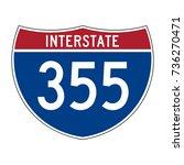 interstate highway 355 road sign | Shutterstock .eps vector #736270471