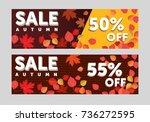 autumn sale background template.... | Shutterstock .eps vector #736272595