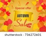 autumn sale background template.... | Shutterstock .eps vector #736272601