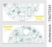 cocktail banner with martini ... | Shutterstock .eps vector #736275265