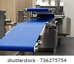 modern conveyor and slicer for... | Shutterstock . vector #736275754