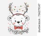 cute little bear in fancy dress ...   Shutterstock .eps vector #736279147
