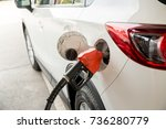 refill and filling oil gas fuel ... | Shutterstock . vector #736280779