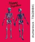 a couple of engraving skeleton... | Shutterstock .eps vector #736284841
