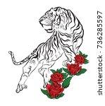 bengal tiger tattoo | Shutterstock .eps vector #736285597