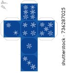 snow flake dice template   do... | Shutterstock .eps vector #736287025
