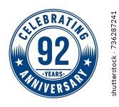 92 years anniversary logo... | Shutterstock .eps vector #736287241