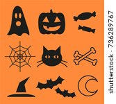 set of halloween icons | Shutterstock .eps vector #736289767