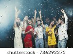 office christmas party. group... | Shutterstock . vector #736292275