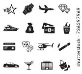 luxury and wealth icons. black... | Shutterstock .eps vector #736297969