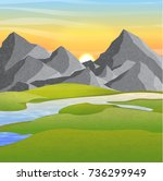 hills and realistic high...   Shutterstock .eps vector #736299949