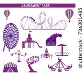 amusement park in flat colorful ... | Shutterstock .eps vector #736301485