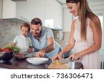 happy family in the kitchen... | Shutterstock . vector #736306471