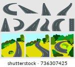 winding asphalt road or way and ... | Shutterstock .eps vector #736307425
