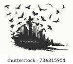 black spot watercolors. flying... | Shutterstock .eps vector #736315951