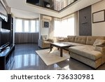 living room with a beautiful...   Shutterstock . vector #736330981