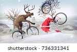 funny lame and bad santa claus... | Shutterstock . vector #736331341