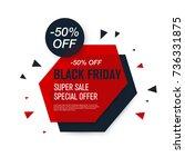black friday sale label. stock... | Shutterstock .eps vector #736331875