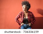 cool girl laughing a lot | Shutterstock . vector #736336159