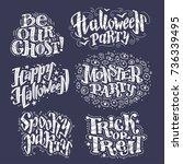 vector flat halloween lettering ...   Shutterstock .eps vector #736339495