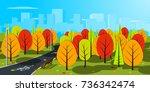 autumn landscape vector... | Shutterstock .eps vector #736342474