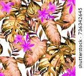 watercolor seamless pattern... | Shutterstock . vector #736342645