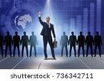 businessman in the spotlight in ... | Shutterstock . vector #736342711