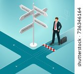 isometric business directions.... | Shutterstock .eps vector #736346164