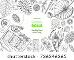 spring rolls and ingredients... | Shutterstock .eps vector #736346365