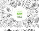 asian food menu design template.... | Shutterstock .eps vector #736346365