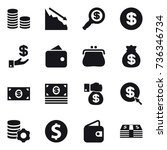 16 vector icon set   coin stack ... | Shutterstock .eps vector #736346734