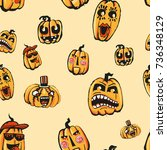 all elements of the halloween... | Shutterstock . vector #736348129