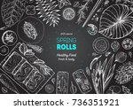 spring rolls and ingredients... | Shutterstock .eps vector #736351921