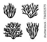 Sea Corals And Seaweed Black...