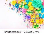 gifts  garland  festive decor...   Shutterstock . vector #736352791
