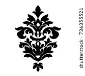 black vintage ornament  baroque ... | Shutterstock .eps vector #736355521