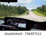 view through windscreen of car... | Shutterstock . vector #736357111