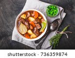 meat stew with beef  potato ... | Shutterstock . vector #736359874