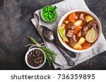 meat stew with beef  potato ... | Shutterstock . vector #736359895
