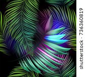 neon jungle  electric tropical... | Shutterstock .eps vector #736360819