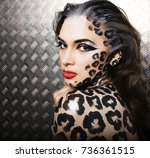 young sexy woman with leopard... | Shutterstock . vector #736361515
